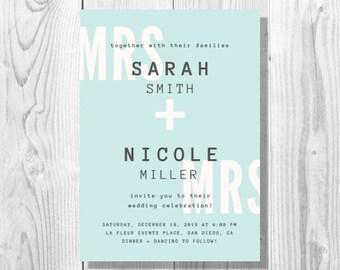 Typographic Lesbian Wedding Invitation - Printable