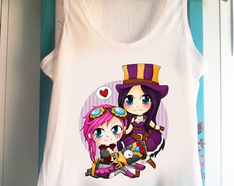 League of Legends chibi Vi and Caitlyn  - Tank Top Sleeveless t-shirt