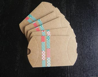 Set of 5 berlingots cardboard and decorated patchwork fashion measuring 9 cm x 7 cm