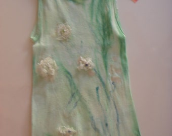 Green/blue   tones on this hand dyed and silk embellished tee.