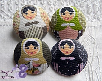 4 fabric buttons, matriochkas, 1.25 in / 32 mm