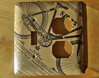 I Want To Ride My Bicycle - upcycled combo outlet switchplate (vintage Sears and Roebuck catalog)
