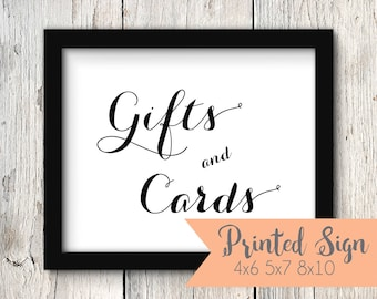 Wedding Gifts & Cards Table Sign, Wedding Reception Gifts and Cards Sign, Printed Wedding Gifts and Cards Sign 4X6, 5x7, or 8x10 (S004-CA)