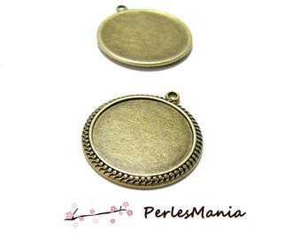 10 pendants ARTY DOUBLE PICOT H6711 BRONZE 25mm