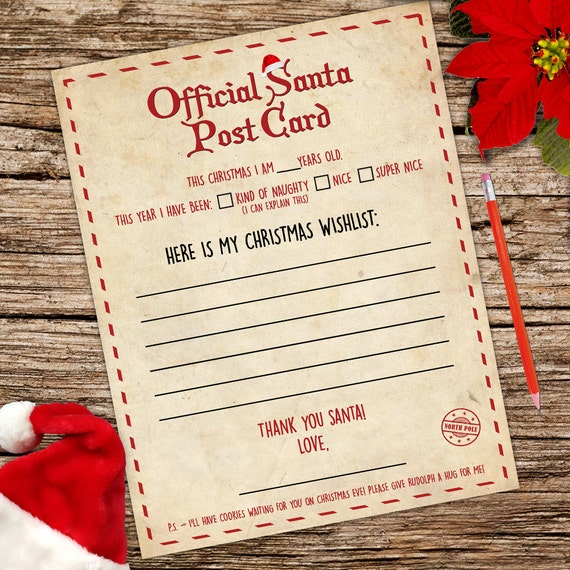 Santa Claus Letter A4 Stationery Writing Paper Instant Download Vintage  Printables Digital Graphics Sheet Christmas Wishlist Xmas Postcard From ...