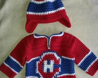 Chapeau et chandail de Hockey des Canadiens bébé Montréal