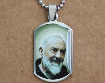 Padre Pio Necklace, Saint Pio of Pietrelcina, Saint Necklace, Religious Gift, Padre Pio, Catholic Gift, Padre Pio Charm Medal Pendant