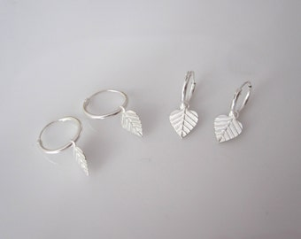 Bodhi leaf charms small sterling silver sleepers hoops, kids, girls, womens earrings
