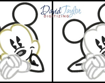 Classic Mickey Mouse Bust  2 design pack! - 4x4, 5x7, 6x10 in 9 formats - Applique - Instant Download - David Taylor Digitizing