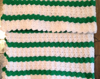 Handmade Crochet unisex baby afghan / blanket, Crochet Baby Blanket, Crochet stroller cover, White green, Nursery decor, Medium