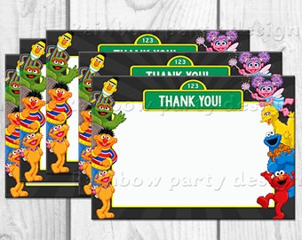 Sesame street Thank you cards Cookie monster birthday Party decorations Elmo Birthday decorations Sesam street Party favors Party supplies
