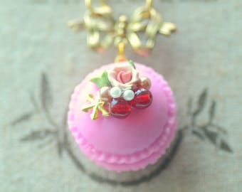 French macaron jewelry, handmade purple macaroon necklace, fake cake pastry charm, lolita accessories, rose and berries cake, gift under 20