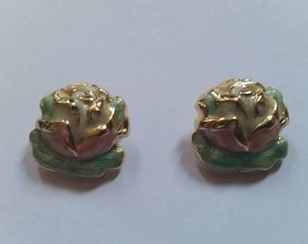 Vintage Enamel Flower Earrings Painted Costume Jewelry