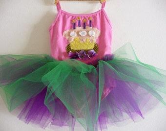 BIRTHDAY LEOTARD TUTU - Birthday Tutu - Cupcake Tutu - Personalized Tutu - Sizes 18/24 months, 2/4 years, 4/6 years , 6/8 years and up