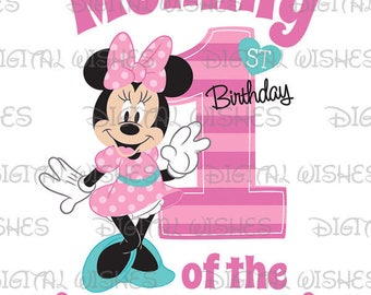 Minnie Mouse 1st Birthday stripes hearts Mommy of the Birthday Girl Digital Iron on transfer image clip art INSTANT DOWNLOAD DIY for Shirt