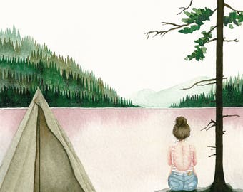 Postcard Tent, Illustrated Postcard, Watercolor and Pencils