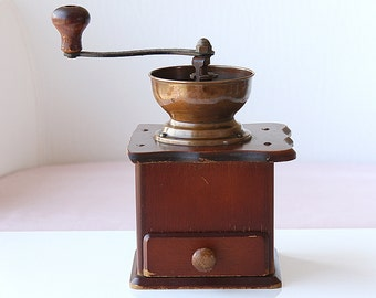 Vintage wooden coffee grinder with copper mill Retro kitchen decor Manual herb grinder Wooden coffee table box hand mill Douwe Egberts DE