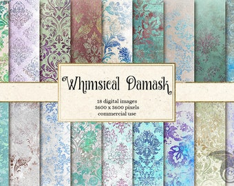Whimsical Damask Digital Paper, light distressed grungy Gothic Victorian backgrounds, printable scrapbook paper, floral damask download