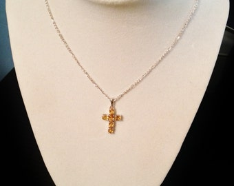 Citrine cross etsy brazilian citrine cross pendant with chain aloadofball Gallery