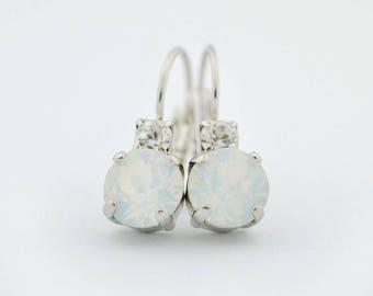 Simple crystal earrings - crystal drop earrings - white opal earrings - bridesmaid earrings - bridesmaid gift - bridal earrings