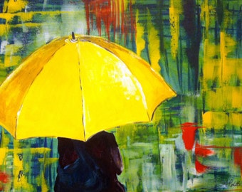Girl with a Yellow Umbrella - Acrylic Print