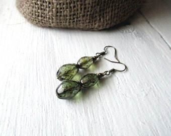 Double Drop Pine Earrings: Czech Glass and Antique Brass Dangle Earrings