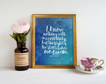 Vincent van Gogh quote, PRINTABLE, the sight of stars makes me dream, inspirational watercolor quote nursery home decor, dorm wall art