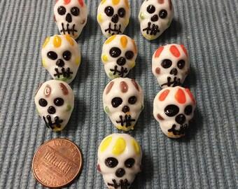 Skull Lampwork Beads set 0f 10