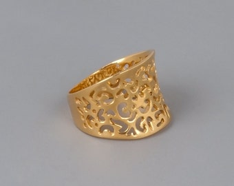 Gold Filigree Ring, Statement Ring, Gold Lace Ring, Victorian Ring, Wide Ring, Gold Ring, Sterling Silver Ring, Rose Gold Ring, Unique Ring