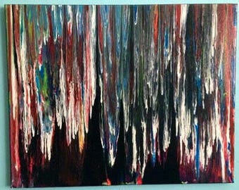 Acrylic on canvas / colorful painting rain
