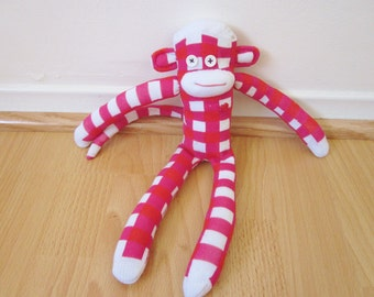 Gingham sock monkey plush doll in magenta, red, and white - with pink heart