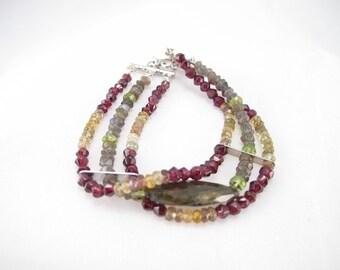 Bracelet, Three strands of peridot, tourmaline, garnet, labradorite gemstone jewelry, multi strand healing stones, chakra stones wildwood
