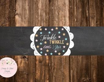 Twinkle Twinkle Little Star Water Bottle Label, Gender Reveal, Baby Shower Water Bottle Label, DIGITAL