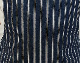 Blue Jean Denim Striped Mens Barbecue Apron with Burlap Detail