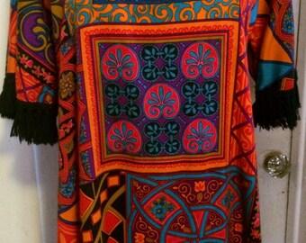 Vintage 70's Psychedelic Print Dress, Maxi Dress, Hippie,Boho, Polyester, Festical Dress, Size M/L