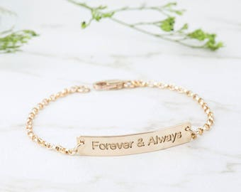 Engraved bar bracelet,Silver or gold or rose gold Half Cuff Bracelet,Engraved Inspirational Quote, Meaningful Gift