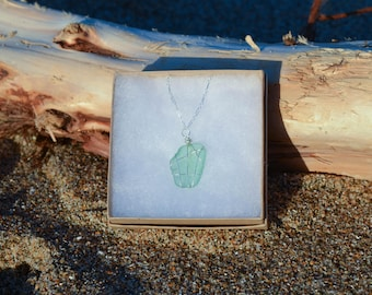 Pescadero Sea Glass Necklace with Sterling Silver Chain