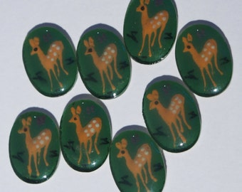 Retro style plastic acrylic deer oval cabochons 18 x 13mm