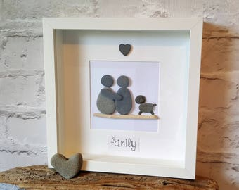 Two people + dog - Cornish Pebble Art Picture