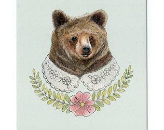 Bear with Fancy Collar - 5x7 Mini Print