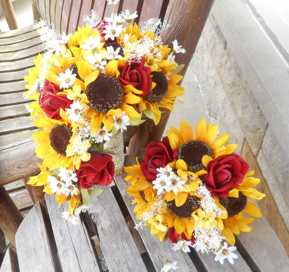 Cascade Bouquet Silk Wedding Flower: Sunflower Cascading Silk Bridal Bouquet With Real Touch Roses