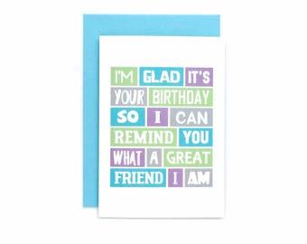 Friend Birthday Card   Best Friend   Funny   Happy Birthday   Friend's Birthday   For Her   For Him   Cute   Blank   SE0198A6