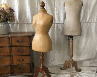 French Couturiers Mannequin, ca 1915, Papier-Mâché, Wood Stand, Wood Finial