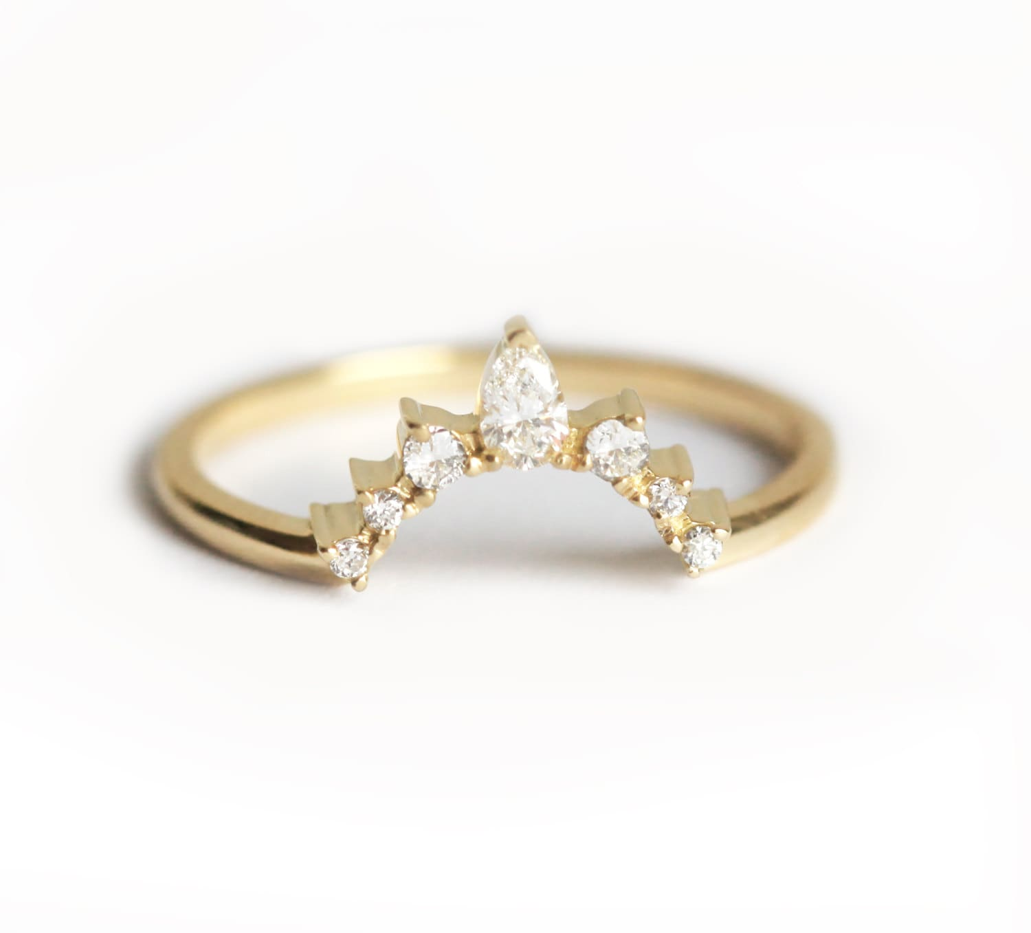 earth gold ring wedding white diamond brilliant curved anniversary chamise rings bands contoured top