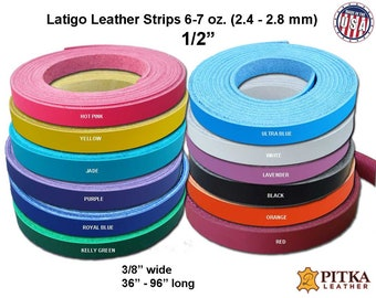 1/2 Inch wide Leather Strips up to 96 Inch Long - Latigo Leather Strips 6-7 oz (2.4-2.8 mm) - Leather  Straps for Craft, Belts, DIY Cuffs