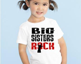 Big Sisters Rock kiddy kats toddler tee