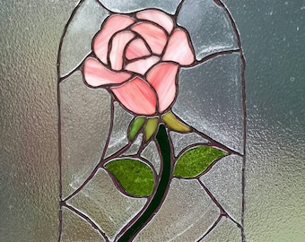 Beauty and the Beast Stained Glass Rose Suncatcher panel. Wedding gift. Birthday gift. Gift for girl. Mothers day. Home decor Rose petals