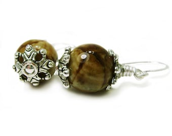 Woodland Gems - Fire Crackle Agate Stone and Pewter Wire Wrapped Dangle Earrings