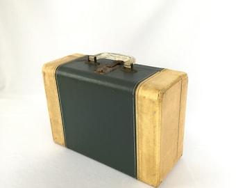 Vintage Suitcase, Train Case, Blue Luggage,  Child's Suitcase, Wedding Card Suitcase, Jewelry Display, Makeup Case, Neevle Ski-Line Case