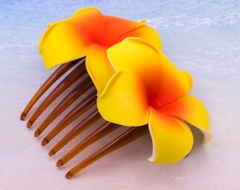 Yellow Flower  Hair Comb,  Flower Comb, Choose The Color,  , Plumeria Flower, Beach Wedding
